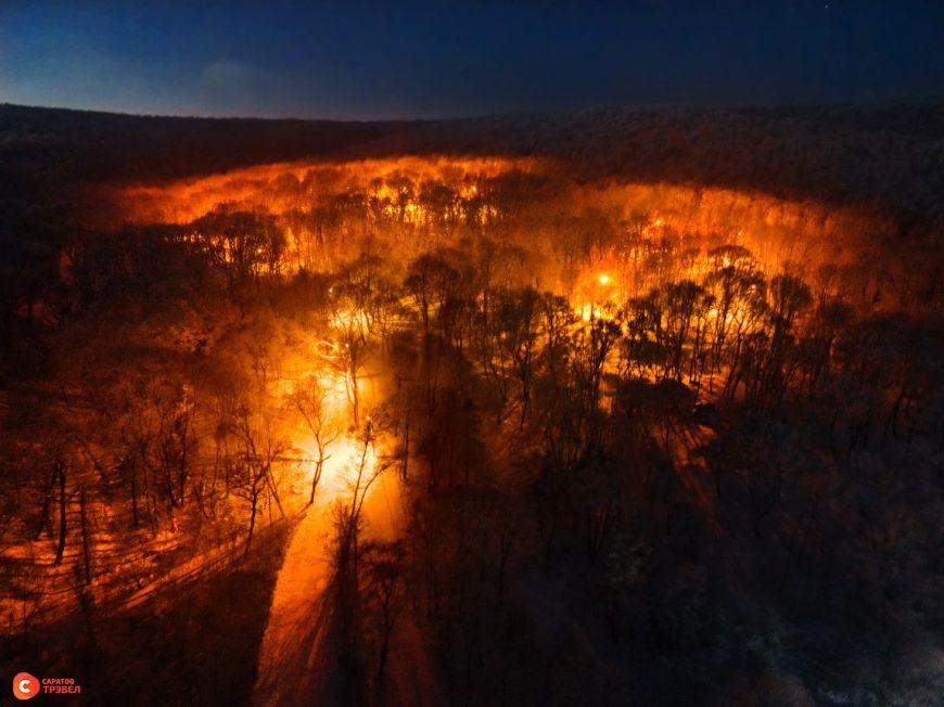 Освещённая лыжероллерная трасса на Кумысной поляне