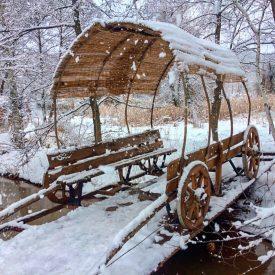 Мостик Повозка зимой в Лоху